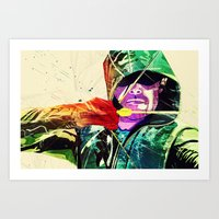 green arrow Art Prints featuring Green Arrow, Arrow by iamcrime