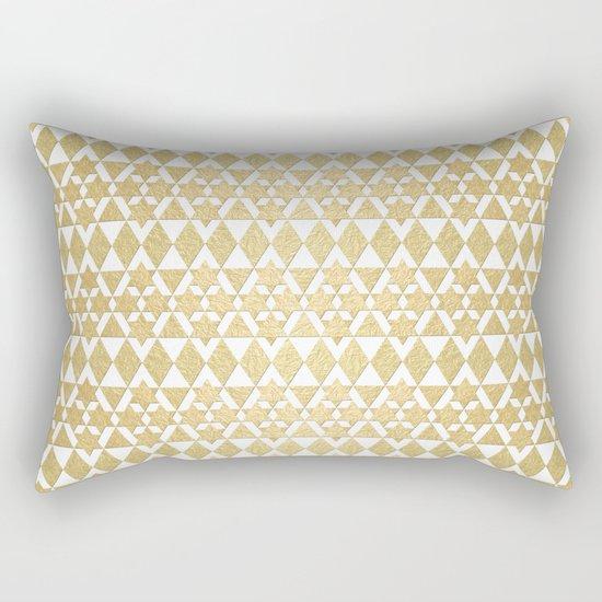 White and Gold Geometric Pattern 4 Rectangular Pillow