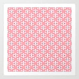 Pretty Pink Snowflake Pattern Art Print