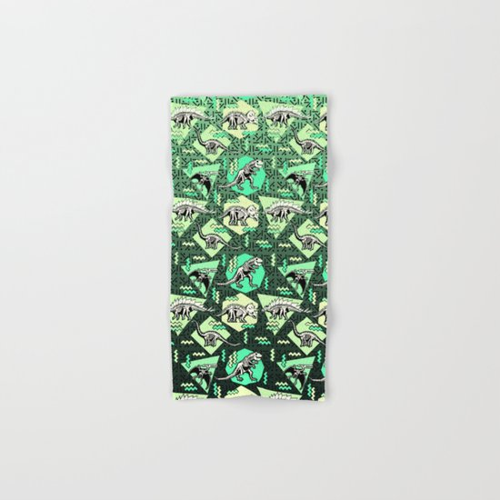 90's Dinosaur Skeleton Neon Pattern Hand & Bath Towel