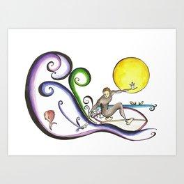 Fish Surfer  Art Print