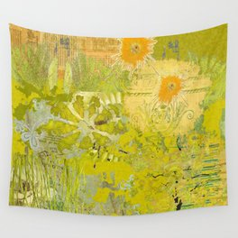 Olive Green Abstract Digital Art Collage Wall Tapestry