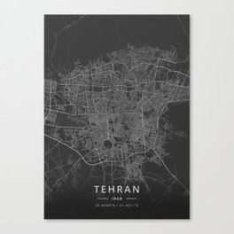 Tehran, Iran - Dark Map Canvas Print