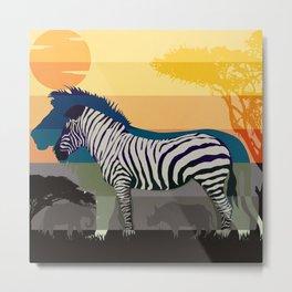 Sunset in Savanna Metal Print