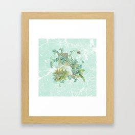 Modern vintage mint marble floral landscape Framed Art Print