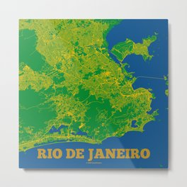 Rio de Janeiro map (Rio 2016) Metal Print