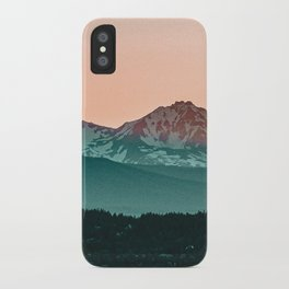 Grainy Sunset Mountain View // Textured Landscape Photograph of the Beautiful Orange and Blue Skies iPhone Case