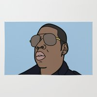jay z Area & Throw Rugs featuring Jay-Z by agr_artwork