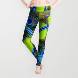 ART NOUVEAU FLYING GREEN PARROTPEACOCK FEATHER CHARTREUSE ART Leggings