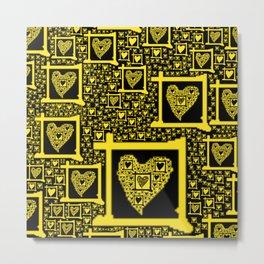 Yellow Toxic Hearts Metal Print