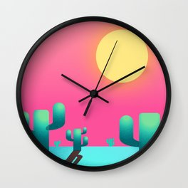 Cactus sunset Wall Clock