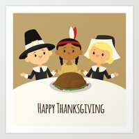 thanksgiving Art Prints featuring Happy Thanksgiving by Sara Showalter