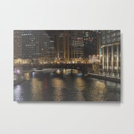 Chicago Skyline Nightshot Metal Print