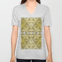 Geometric 3D Diamond Yellow Gold Print Unisex V-Neck