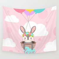 bunny Wall Tapestries featuring Bunny by Karla Peña
