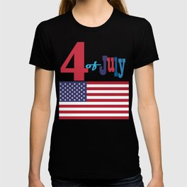4th of July Happy Independence Day Patriotic American flag & stars T-shirt