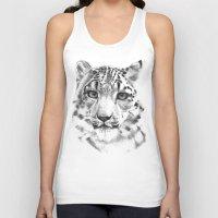 snow leopard Tank Tops featuring Snow leopard by RekaFodor
