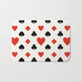 Playing Card Suit with Hearts, Spades, Clubs & Diamonds Bath Mat