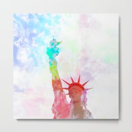 Statue of Liberty with colorful painting abstract background in red pink blue yellow Metal Print
