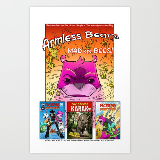 Armless Bear's Mad as Bees Art Print