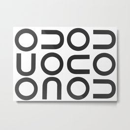 O and U Repeating Pattern Metal Print
