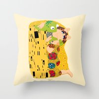 klimt Throw Pillows featuring Klimt muppets by tuditees