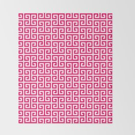 Hot Pink and White Greek Key Pattern Throw Blanket