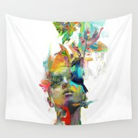 black Wall Tapestries featuring Dream Theory by Archan Nair