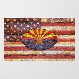 Arizona and USA flag on old wooden planks. Rug