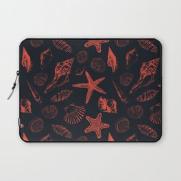 Underwater creatures in red and dark blue Laptop Sleeve