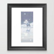 a deer with nine horns is bringing back the sun~ illustration  Framed Art Print