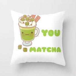 I Like You Very Matcha Cute Matcha Pun Throw Pillow