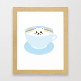 Cute Kawai cat in blue cup Framed Art Print