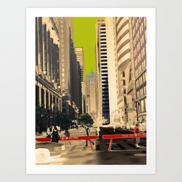 Downtown Chicago photography digitally reimagined - modern Chicago skyline in pop art Art Print