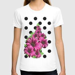Magenta Daisy Flowers Polka Dot T-shirt