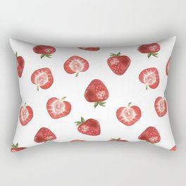 Watercolor Hand-panted Food Strawberry Seamless Pattern Rectangular Pillow