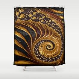 Elegant Black Gold Shell Shower Curtain