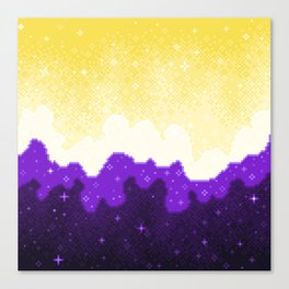 Nonbinary Pride Flag Galaxy Canvas Print