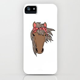 Horsing Shirt For Horse Lovers With Illustration Of A Horse With A Scarf On It's Head T-shirt Design iPhone Case