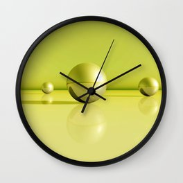 greenyellow spheres Wall Clock