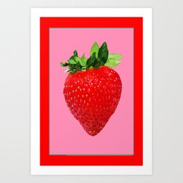 Red & Pink Colors Strawberry Art Art Print