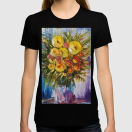 Bright Flowers Painting, Yellow Flowers artwork, floral art T-shirt
