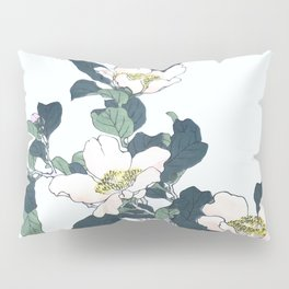 Kono Bairei - Grey Herons And Camellia Flowers - Vintage Japanese Woodblock Print Art (1883) Pillow Sham
