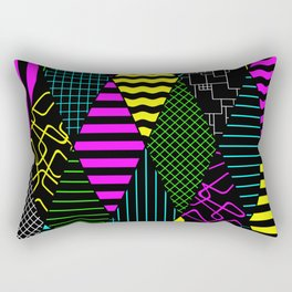 Bright Multi Patterned Diamond Collage Rectangular Pillow