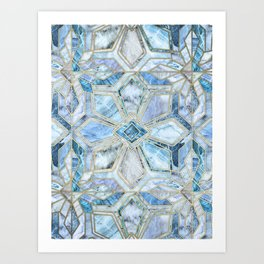 Geometric Gilded Stone Tiles in Soft Blues Art Print