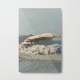 White beach umbrellas in Italy   Pastel beach art  Travel photography Europe Metal Print