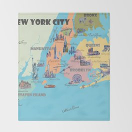 New York City Fine Art Print Retro Vintage Favorite Map with Touristic Highlights Throw Blanket
