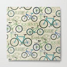Bicycle Journey Blue Metal Print