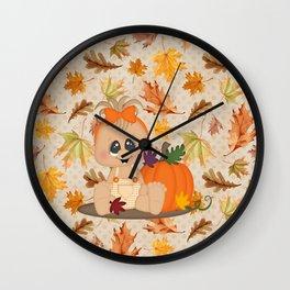 Fall Pumpkin Girl Wall Clock