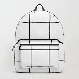 black grid on white background Backpack
